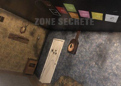Décoration dans un escape game type cauchemar sans effet de fumée.