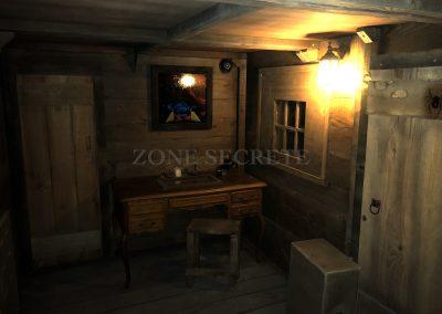Escape game décoration intérieur bateau Pirate, réalisé par Morgan BRUYNOOGHE.